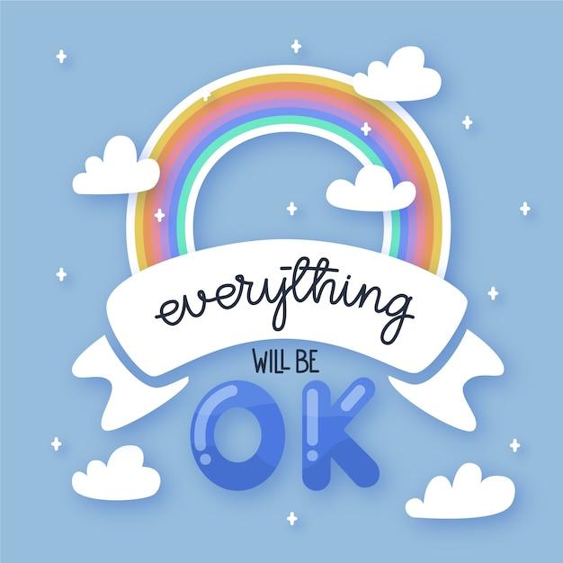 Alles komt goed en regenboog Gratis Vector