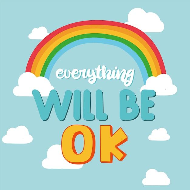 Alles komt goed met letters met een regenboog Gratis Vector