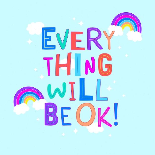 Alles komt goed met letters met regenboog Gratis Vector