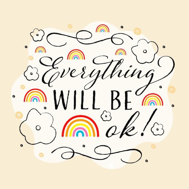 Alles komt in orde regenboog en mooie lijnen Gratis Vector