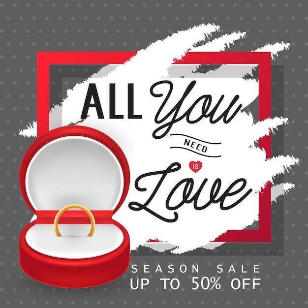 Alles wat je nodig hebt is liefdesbelettering met ring Premium Vector