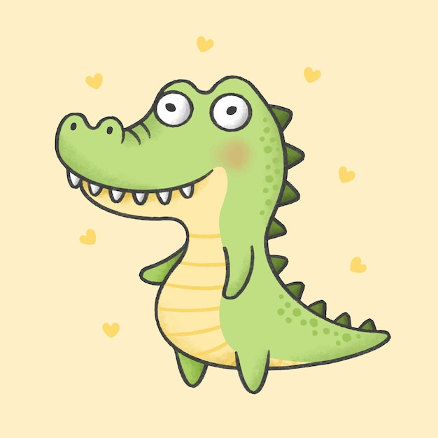 Alligator cartoon hand getrokken stijl Premium Vector