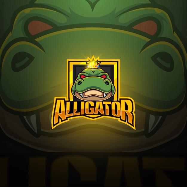 Alligator esport mascotte logo ontwerp Premium Vector