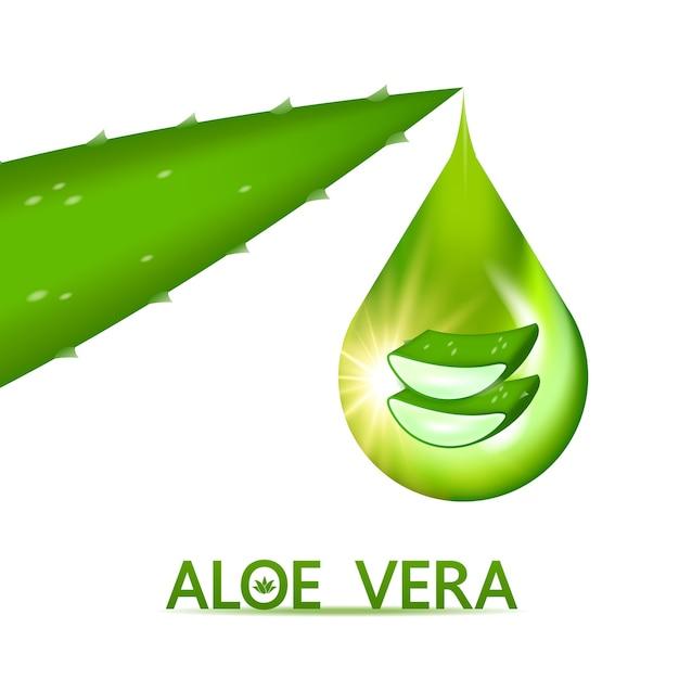 Aloë vera collageen en serum voor cosmetische huidverzorging Premium Vector