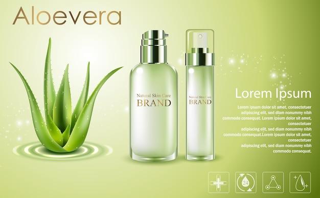 Aloe vera cosmetische advertenties, groene sproeiflessen met aloë vera Premium Vector