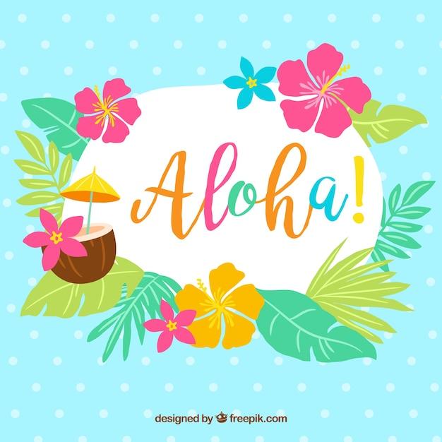 Aloha achtergrond met bladeren en bloemen Gratis Vector