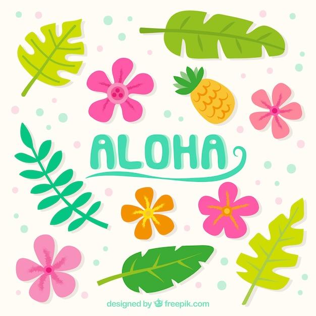 Aloha achtergrond met bloemen en bladeren Gratis Vector