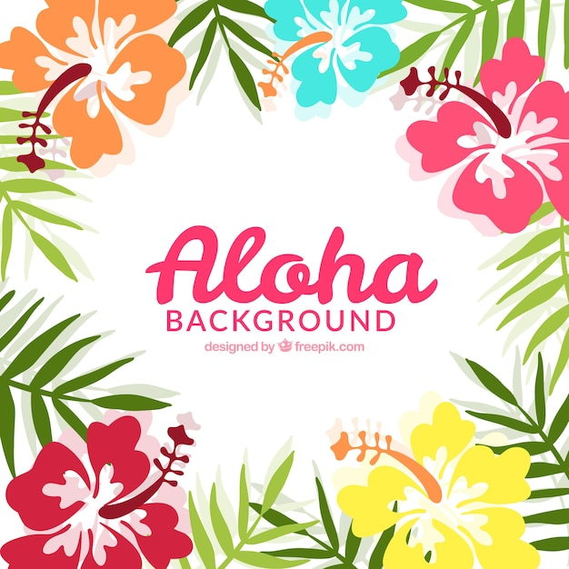 Aloha achtergrond met tropische bloemen Gratis Vector
