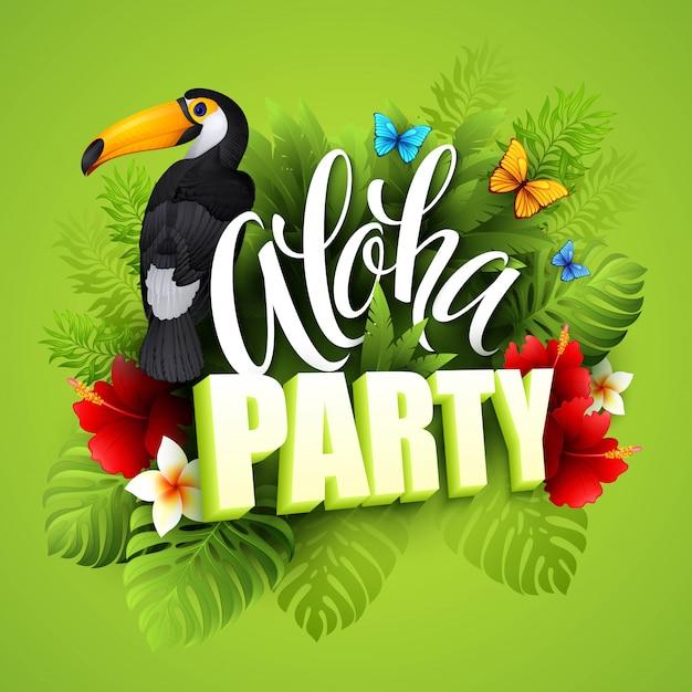 Aloha hawaii. hand belettering met exotische bloemen. illustratie Premium Vector