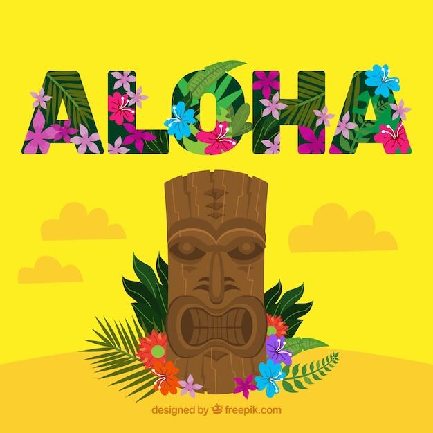Aloha totempaal achtergrond Gratis Vector