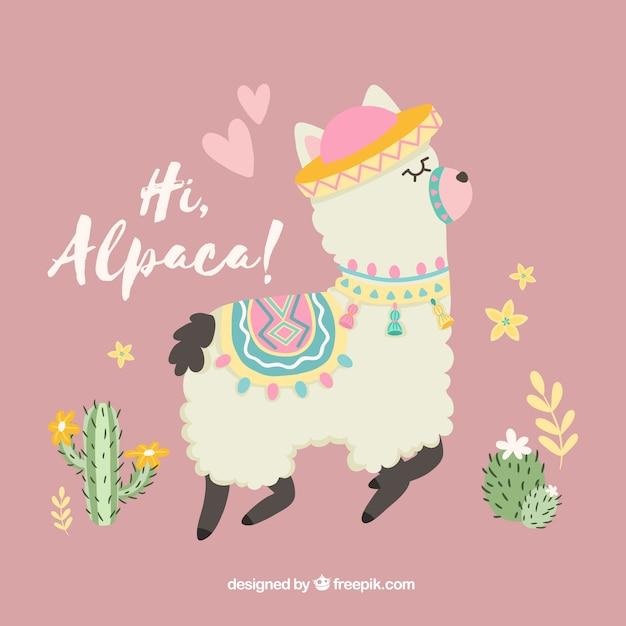 Alpaca achtergrond met liefde concept Gratis Vector
