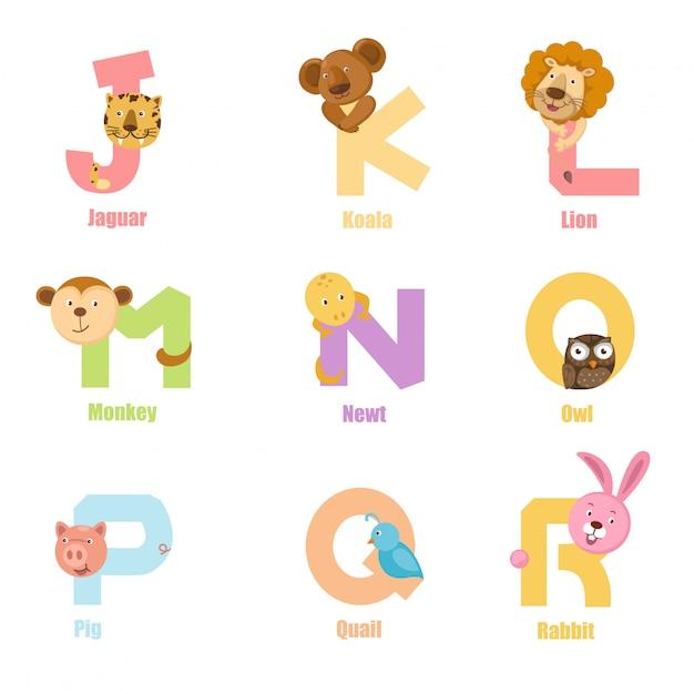 Alphabet animal jr Premium Vector