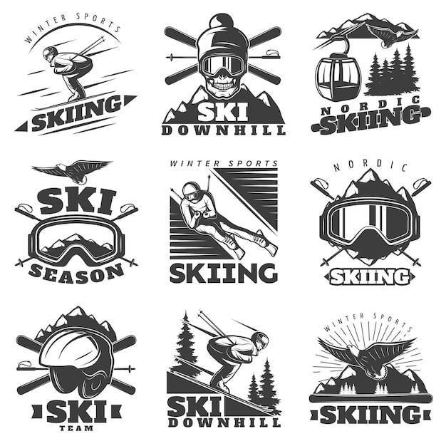 Alpineskiën labels set Gratis Vector