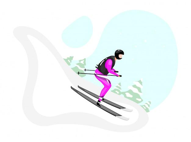 Alpineskiën vlakke afbeelding. extreme wintersport. actieve levensstijl. buitenactiviteiten op besneeuwde berghelling. sportman op ski's geïsoleerde stripfiguur op blauwe achtergrond Premium Vector