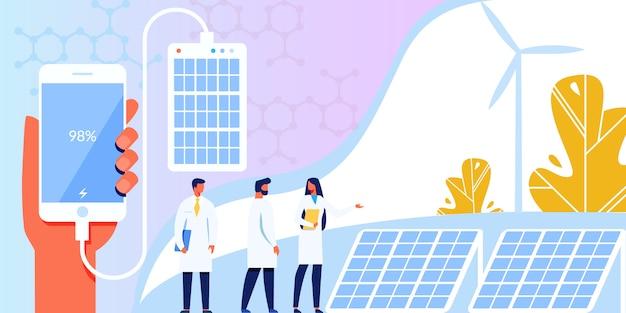 Alternatieve ecologische zonnepaneeltechnologie. Premium Vector