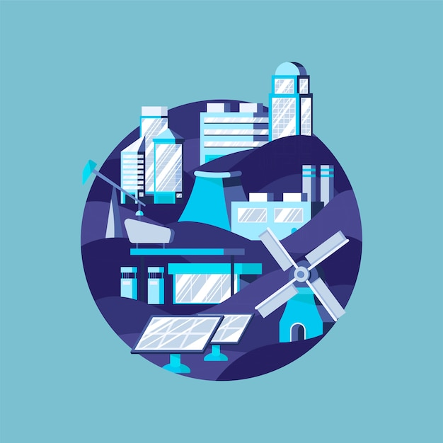Alternatieve energie in blauw Gratis Vector