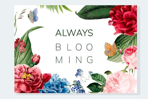 Altijd bloeiende bloemenkaderillustratie Gratis Vector