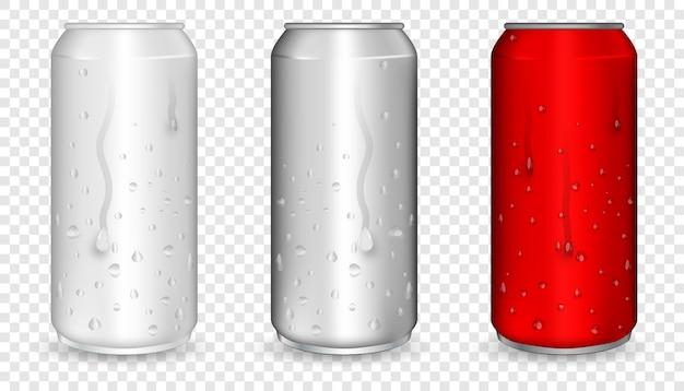 Aluminium blik met waterdruppels. realistische metalen blik voor bier, frisdrank, limonade, sap, energiedrank. rood realistisch kan. Premium Vector