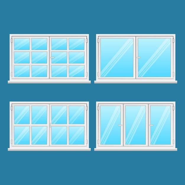 Aluminiumvensters geplaatst die op blauwe achtergrond worden geïsoleerd. hoge kwaliteit ramen van roestvrij staal. moderne frametypes. venster buiten gebruik. huis- en kantoorramen. venster . illustratie Premium Vector
