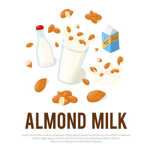 Amandelmelk reclameflyer met plaats voor uw tekst. gezond eten cartoon afbeelding geïsoleerd op een witte achtergrond Premium Vector