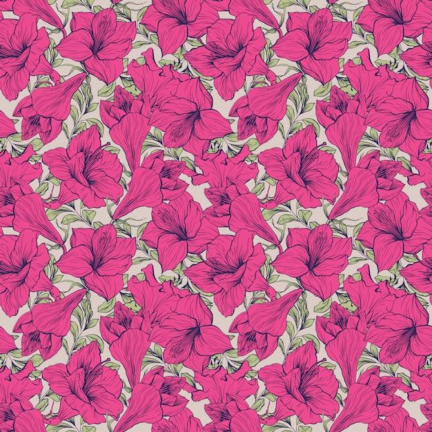 Amaryllis bloem naadloze bloemmotief Gratis Vector