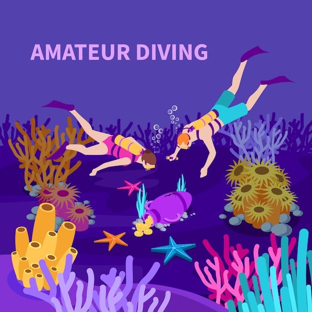 Amateur die isometrische samenstelling met duikers en amfora duiken met de vectorillustratie van de muntstukken op zee bed Gratis Vector