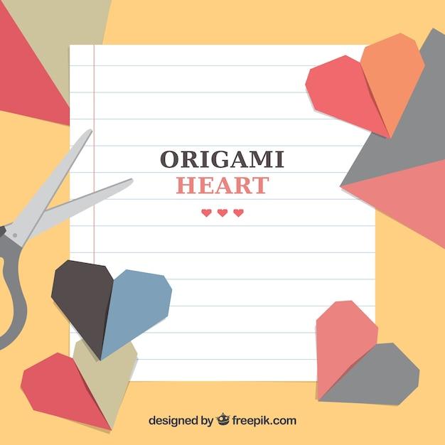 Ambachtelijke achtergrond met origami harten Gratis Vector