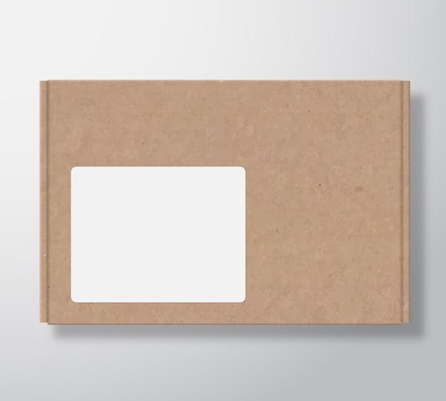 Ambachtelijke kartonnen doos met doorzichtig wit vierkant labelsjabloon. Gratis Vector