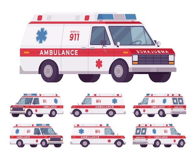 Ambulance auto redding set Premium Vector