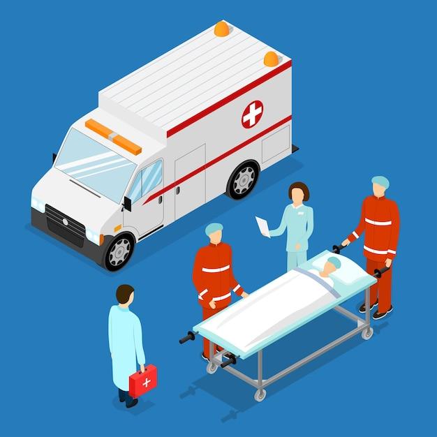 Ambulance dienstverleningsconcept Premium Vector