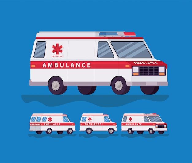 Ambulance en paramedicus auto zijaanzicht decorontwerp Premium Vector