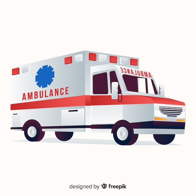 Ambulance in plat ontwerp Gratis Vector