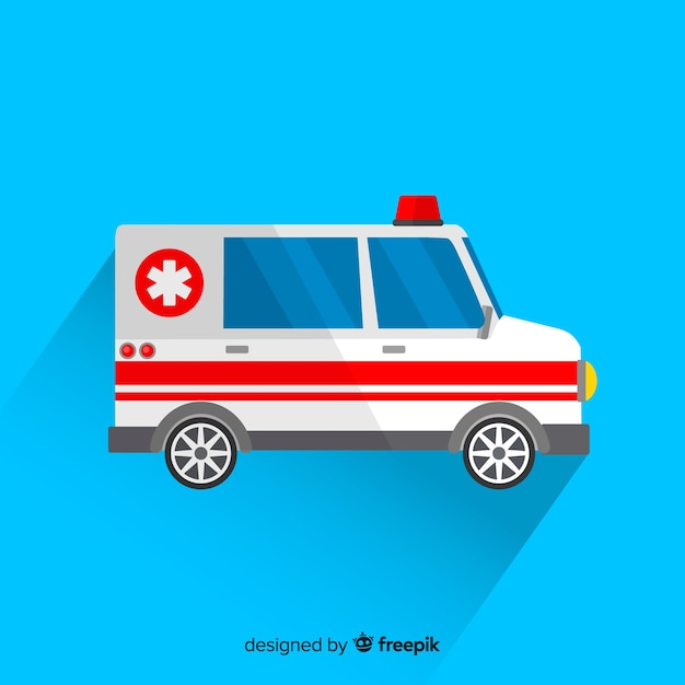 Ambulance in plat ontwerp Gratis Vector