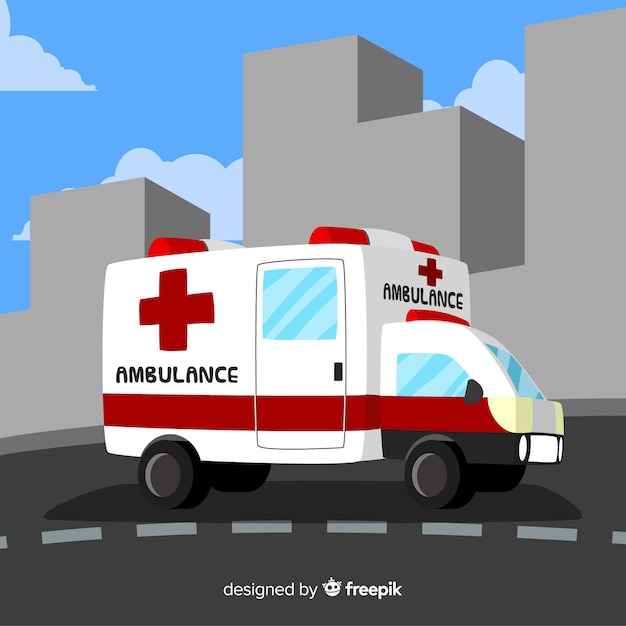 Ambulance in vlakke stijl Gratis Vector
