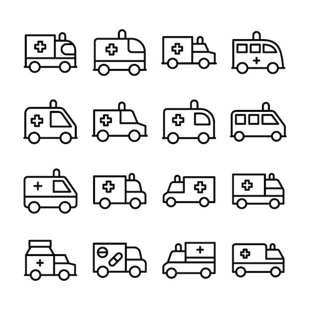 Ambulance lijn icon set Premium Vector