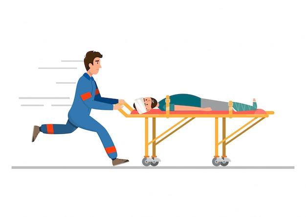Ambulance medische spoedhulp. personeel draagt patiënt in brancard Premium Vector