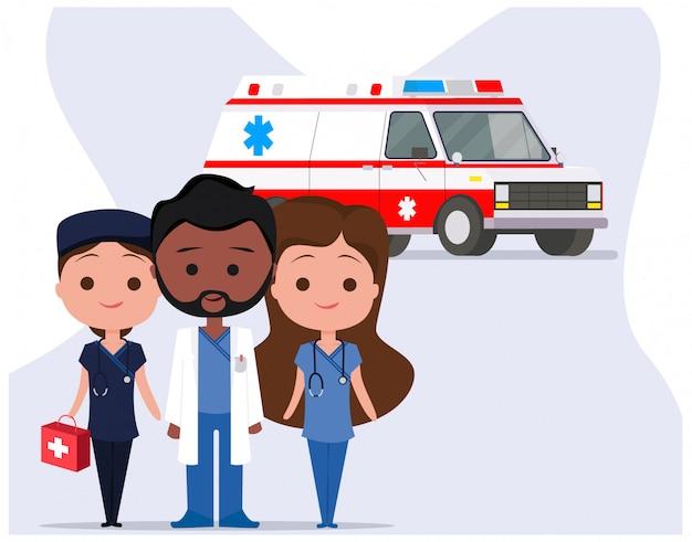 Ambulance met paramedicus medisch karakterteam Premium Vector