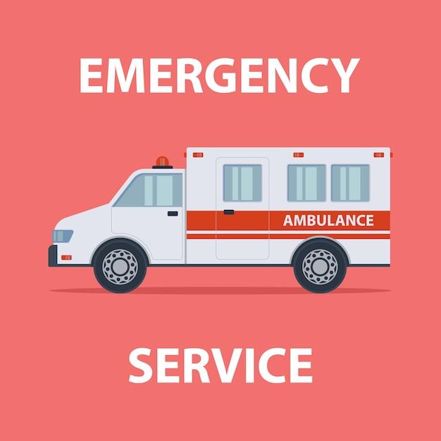Ambulance nooddienst egale kleur illustratie Premium Vector