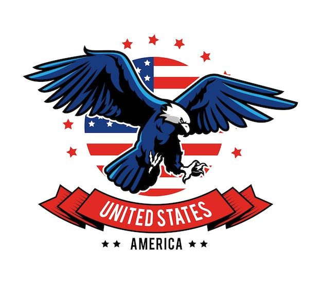 American eagle embleem ontwerp Premium Vector