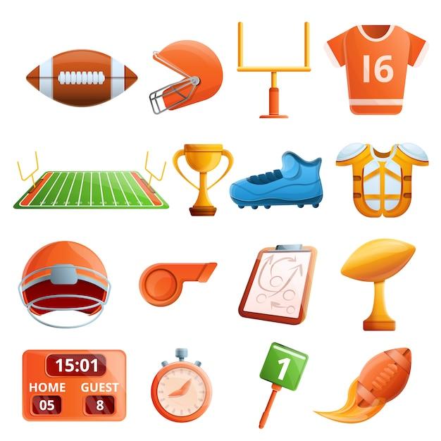 American football-apparatuur set, cartoon stijl Premium Vector