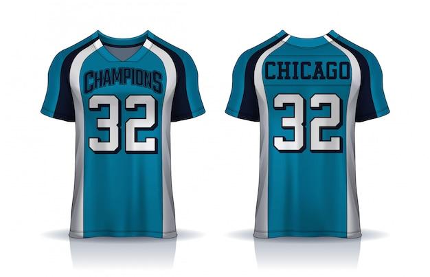 American football-jersey, t-shirt sport ontwerpsjabloon.uniform voor- en achterkant bekijken. Premium Vector