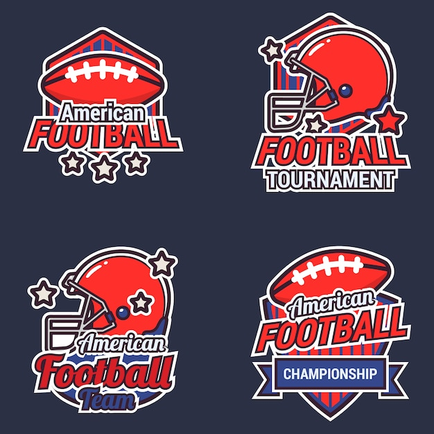 American football label collectie Gratis Vector