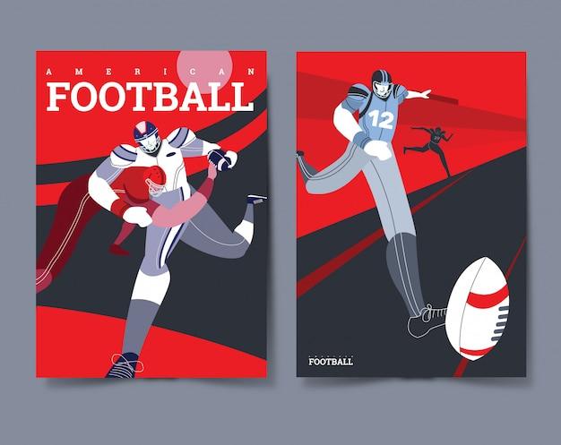 American football player poster set Premium Vector