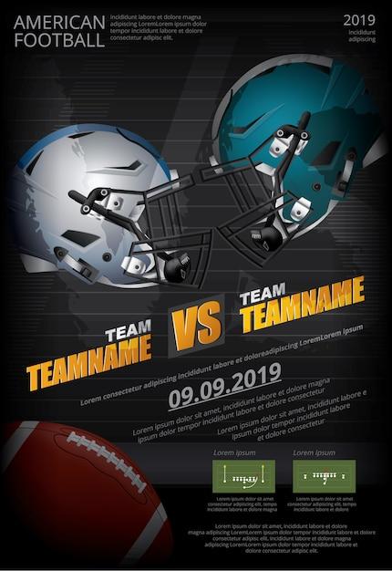 American football-poster Premium Vector