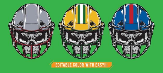 American football-schedel met helm instellen Premium Vector