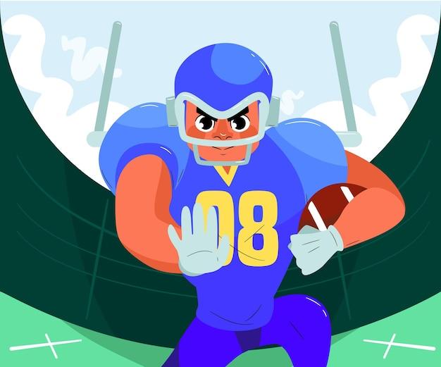 American football-speler met de bal Premium Vector