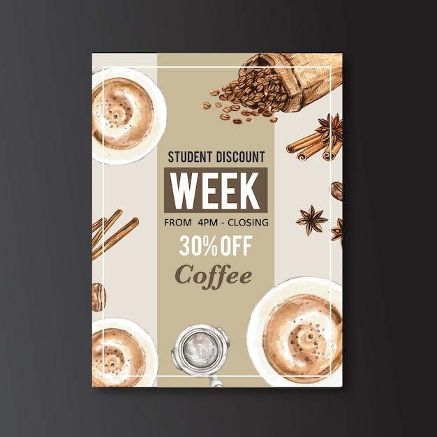 Americano, cappuccino koffie poster korting, moderne sjabloon, aquarel illustratie Gratis Vector