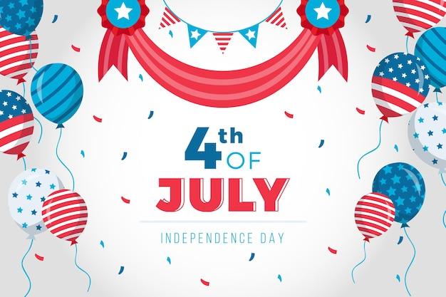 Amerika 4 juli dag met ballonnen achtergrond Gratis Vector
