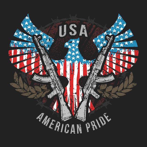 Amerika eagle de vlag van de vs en machinegeweer Premium Vector