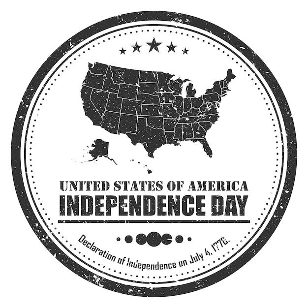 Amerika kaart stempel symbool. grunge ontwerp. 4 juli onafhankelijkheidsdag concept Premium Vector